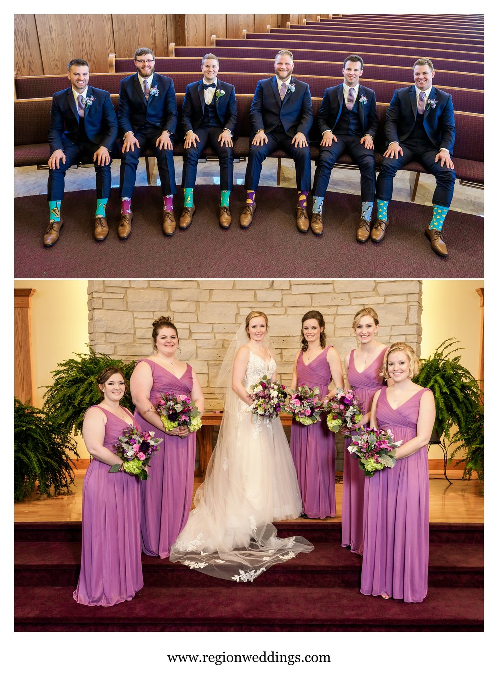 Groomsmen show off their socks while the bridesmaids rock their pretty flowers.