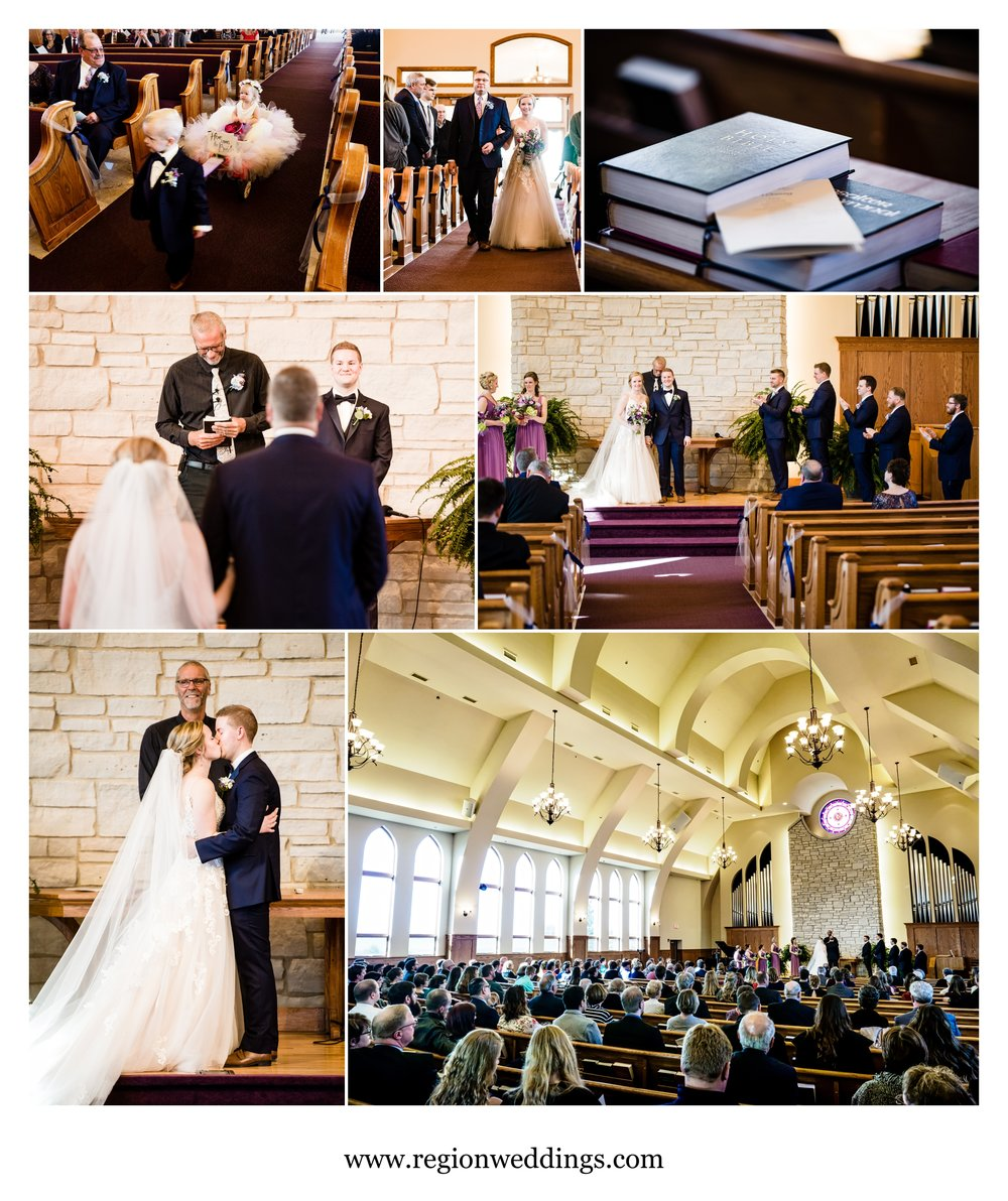 Wedding ceremony at Faith United Reform Church.