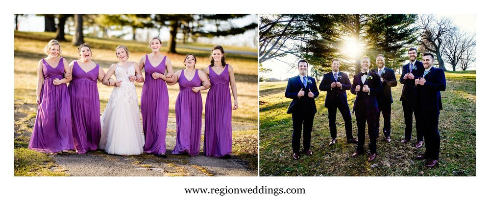 Bridesmaid and groomsmen photos in the sun at a March wedding.