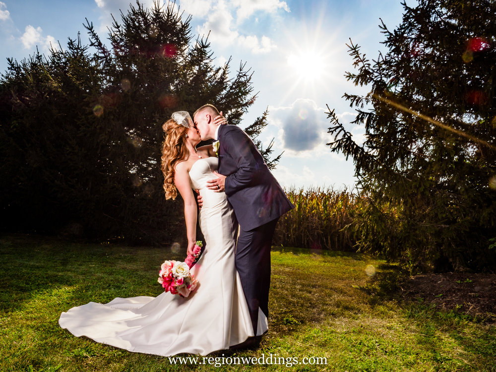 Bride and groom at Meadow Springs Manor.