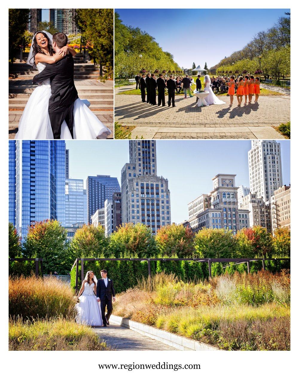 Outdoor wedding ceremony at The Cancer Survivor's Garden in Chicago.