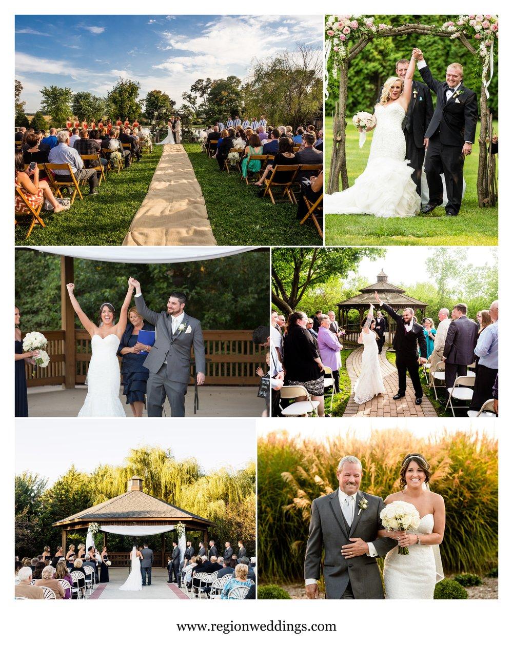 Outdoor wedding ceremonies in Northwest Indiana and Southwest Michigan.