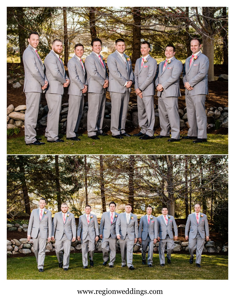 Groomsmen photos at an Aberdeen Manor Spring wedding.