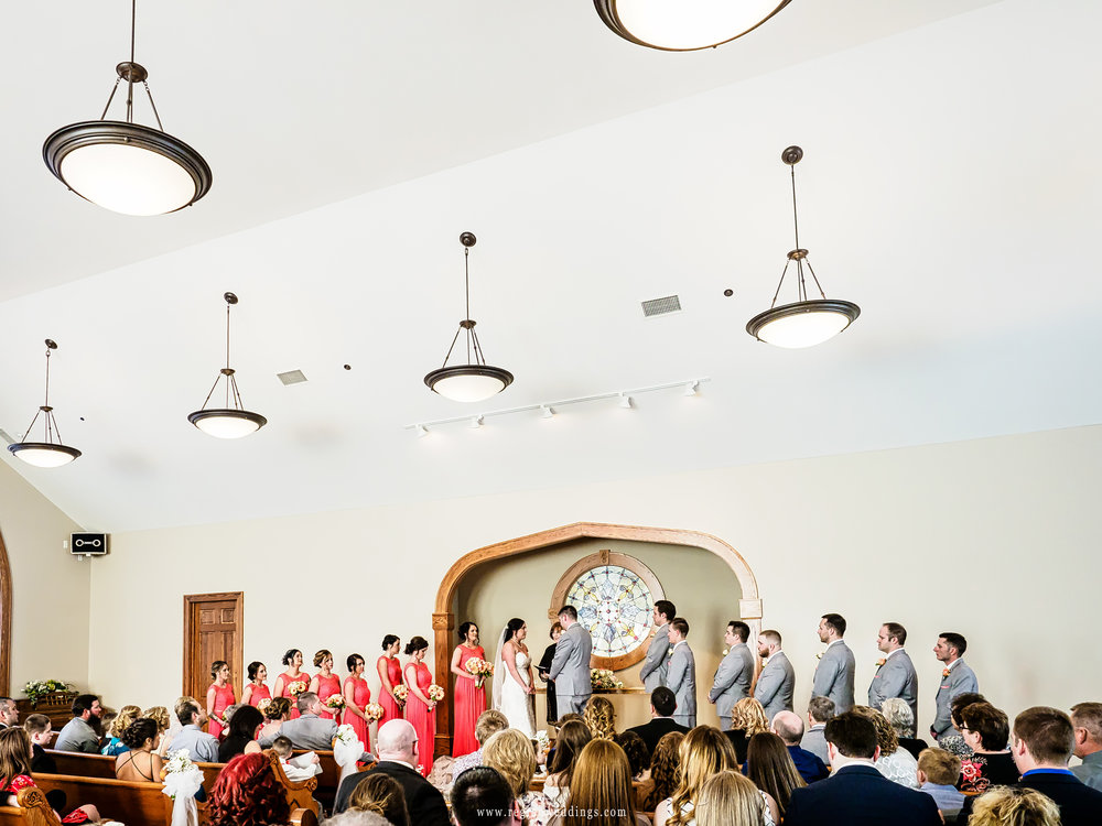 Spring wedding ceremony inside Aberdeen chapel.