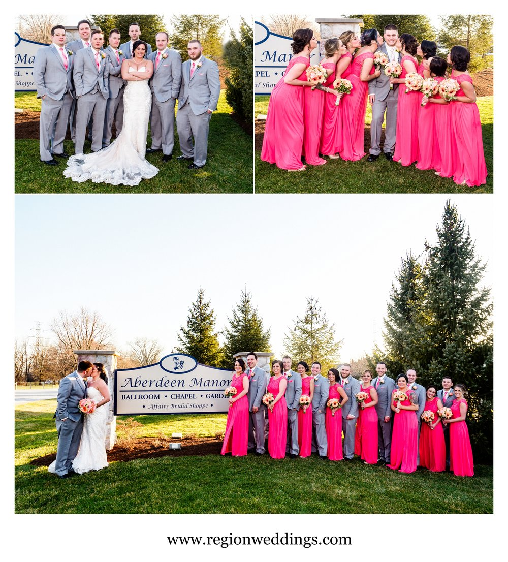 Wedding party photos at Aberdeen Manor in Valparaiso, Indiana.
