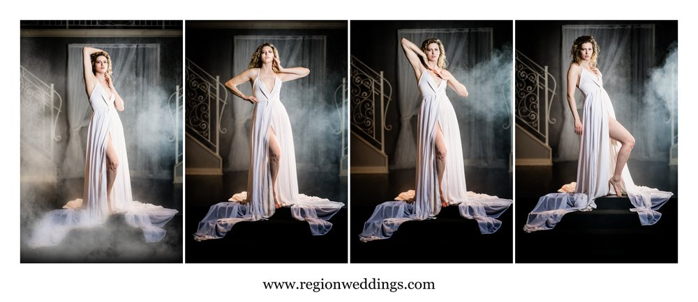 A gorgeous model in a chiffon gown surrounded by fog.