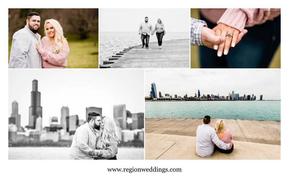 Romantic engagement photos along the lakefront in Chicago.