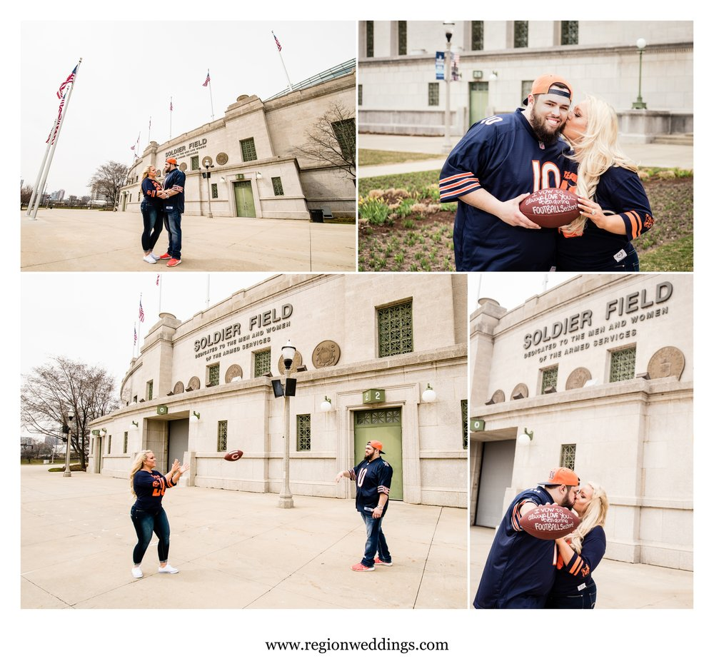 Football themed engagement photos in front of Soldier Field.