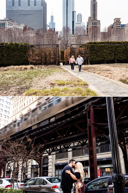 Chicago city life engagement photos.