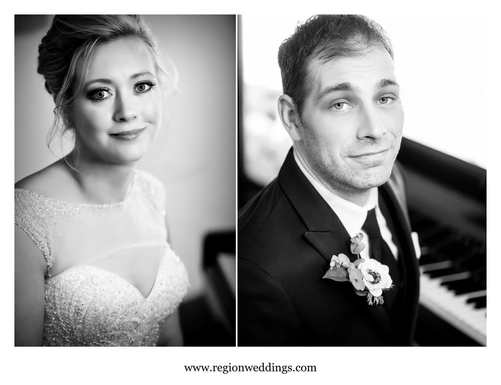 Close up portraits of the bride and groom at the piano.