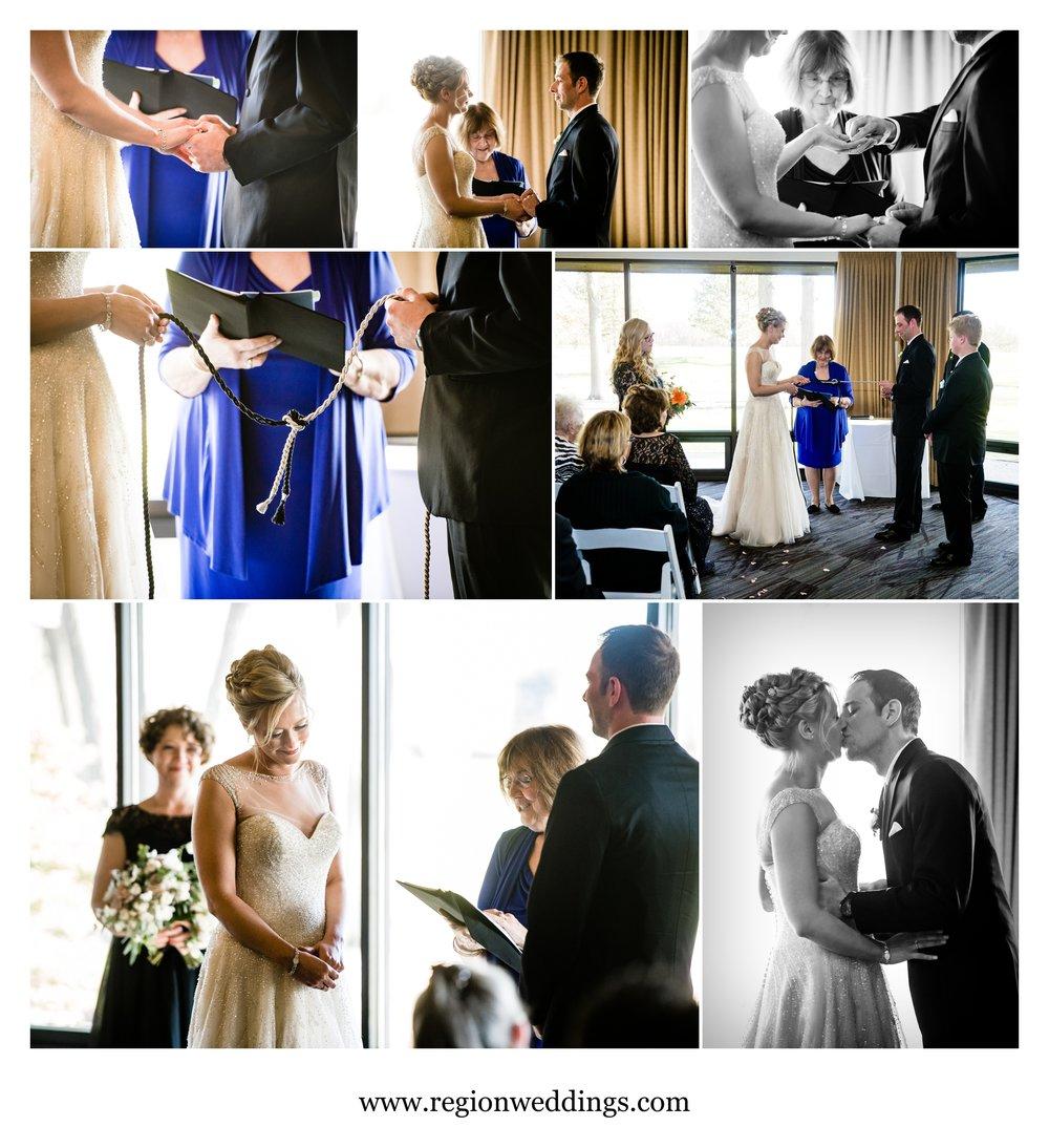 Indoor wedding ceremony at Briar Ridge Country Club.