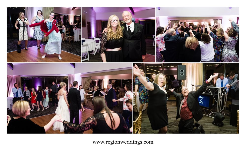 Fun times on the dance floor for a Spring wedding at Briar Ridge in Schererville.