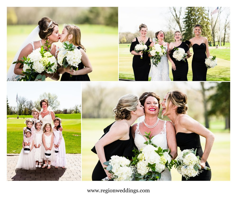Fun bride and bridesmaids photos on the golf course at Briar Ridge.