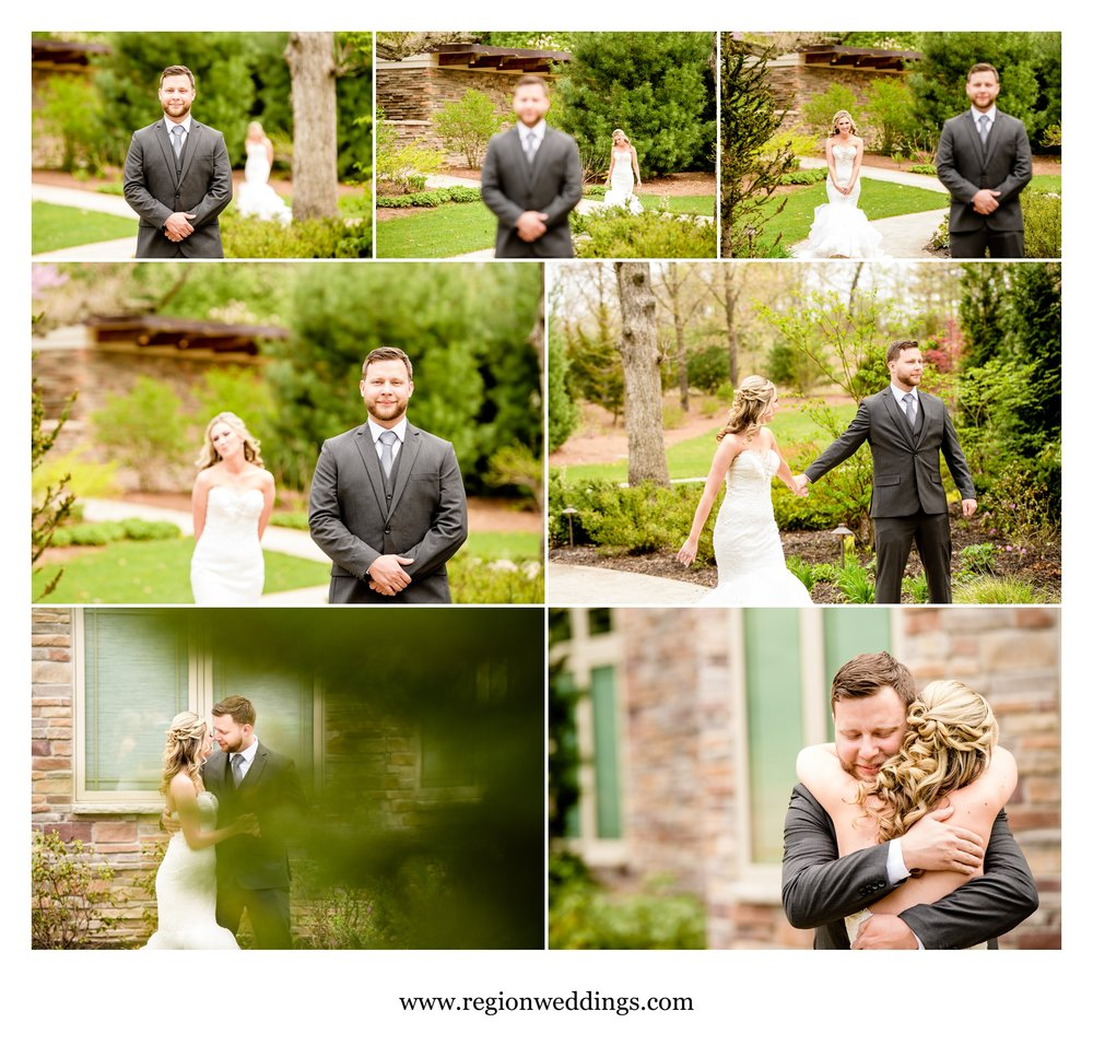 The bride and groom reveal / first look at Sandy Pines in Demotte, Indiana.