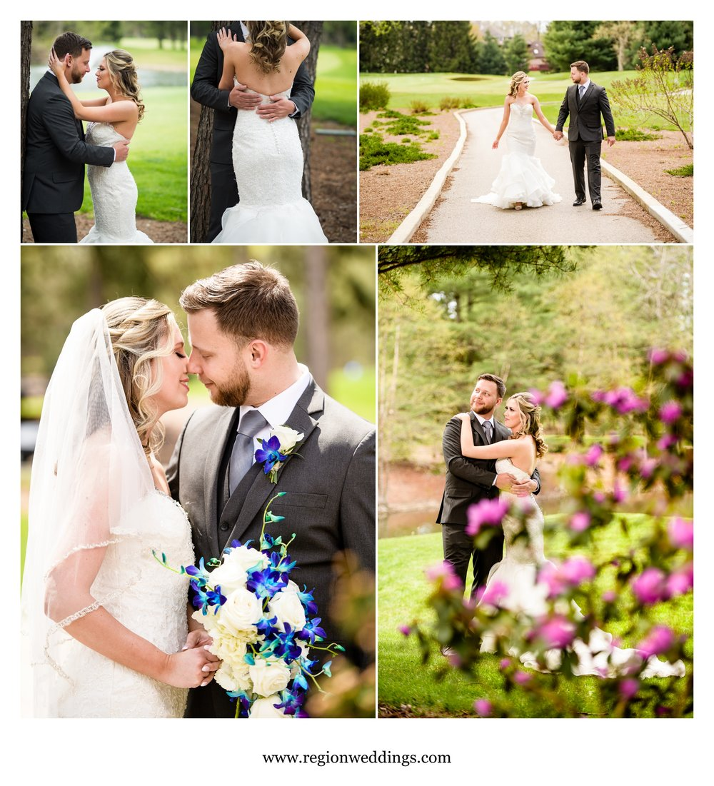 Portraits of the bride and groom on and off the golf course.