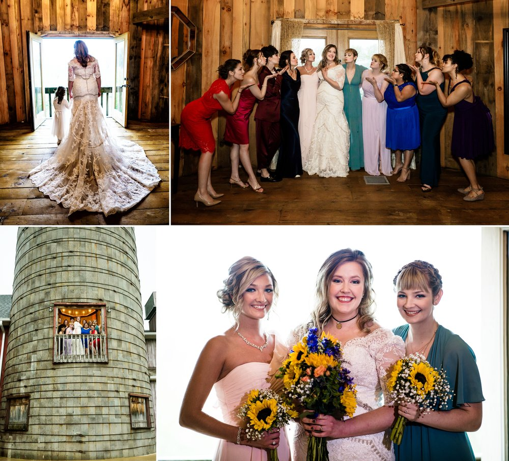 Bridesmaid fun inside the grain silo at County Line Orchard.