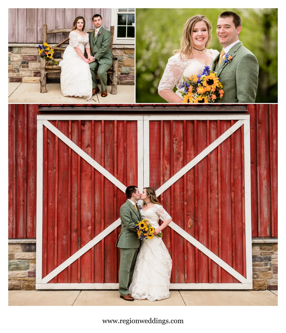Fun bride and groom pictures at County Line Orchard.