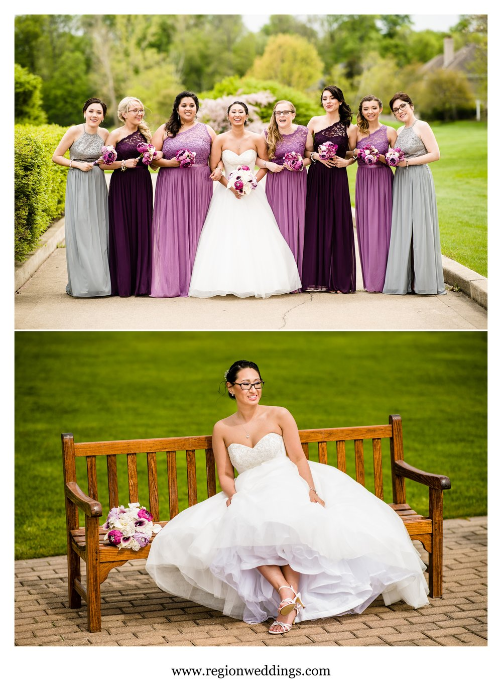 The bride and her bridesmaids on the Sand Creek golf course.