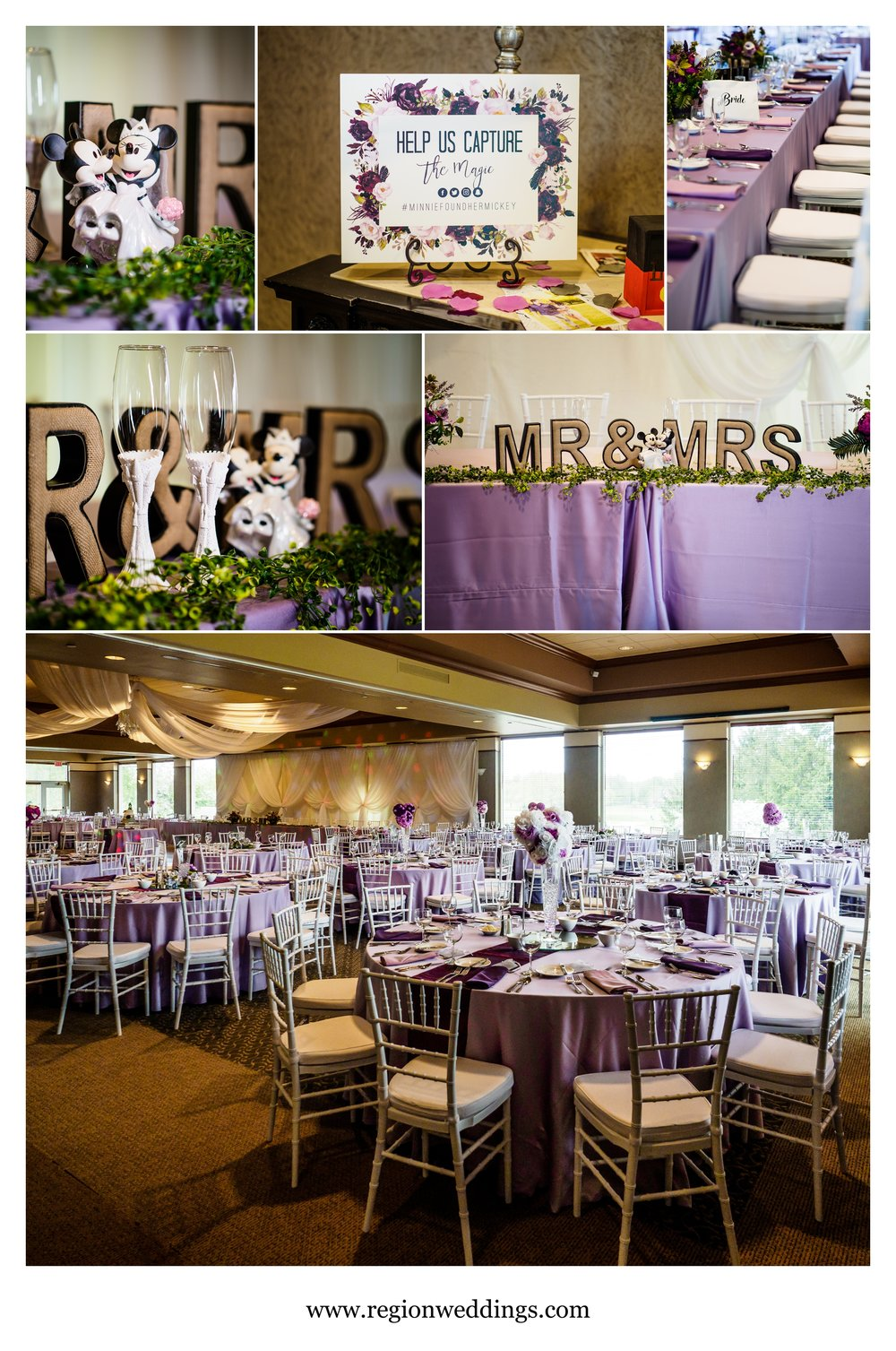 A Disney inspired wedding reception at Sand Creek Country Club.