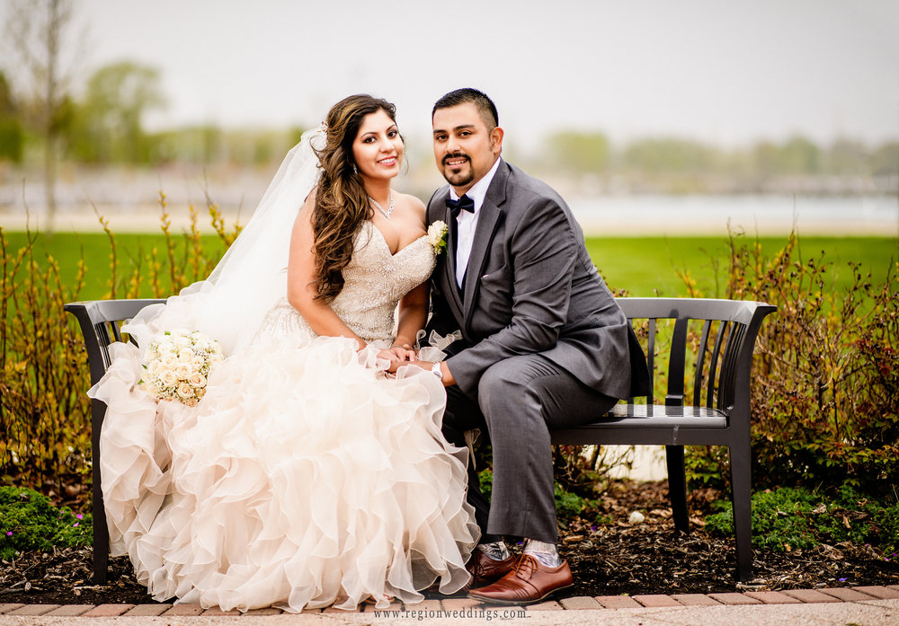 Bride and groom portrait at Whiting Lakefront Park