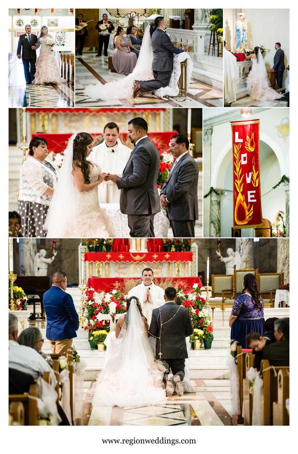 Catholic wedding ceremony at St. Anthony's in Chicago.