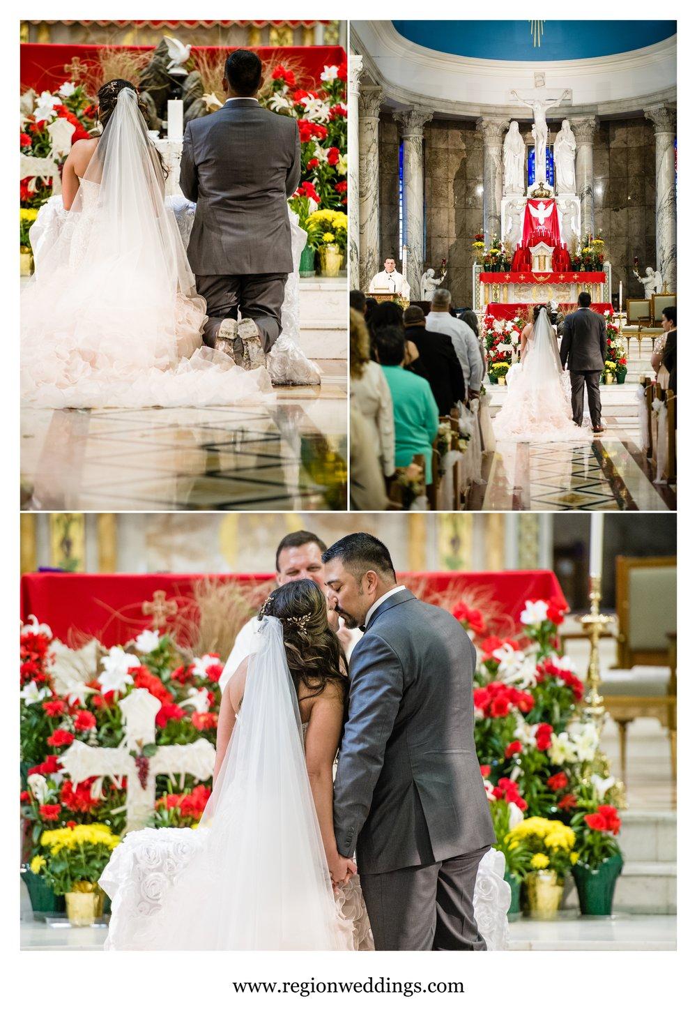 Spring wedding ceremony at St. Anthony's Catholic Church in Chicago, Illinois.