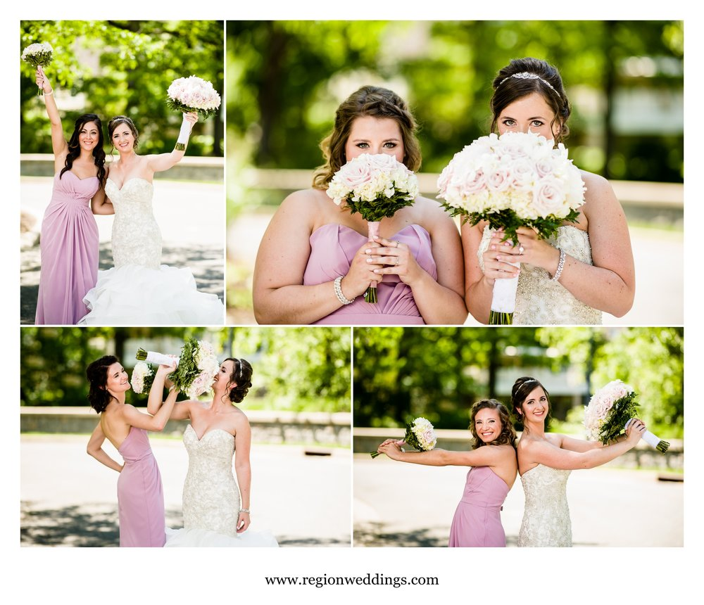 Fun bridesmaid photos at the Aberdeen fountain.