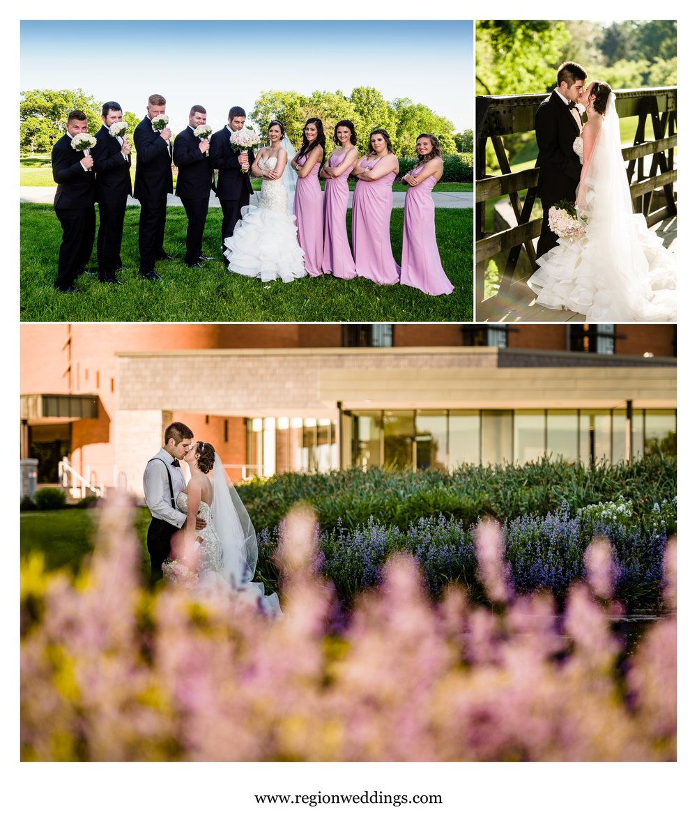 Wedding photos at Valparaiso University campus.
