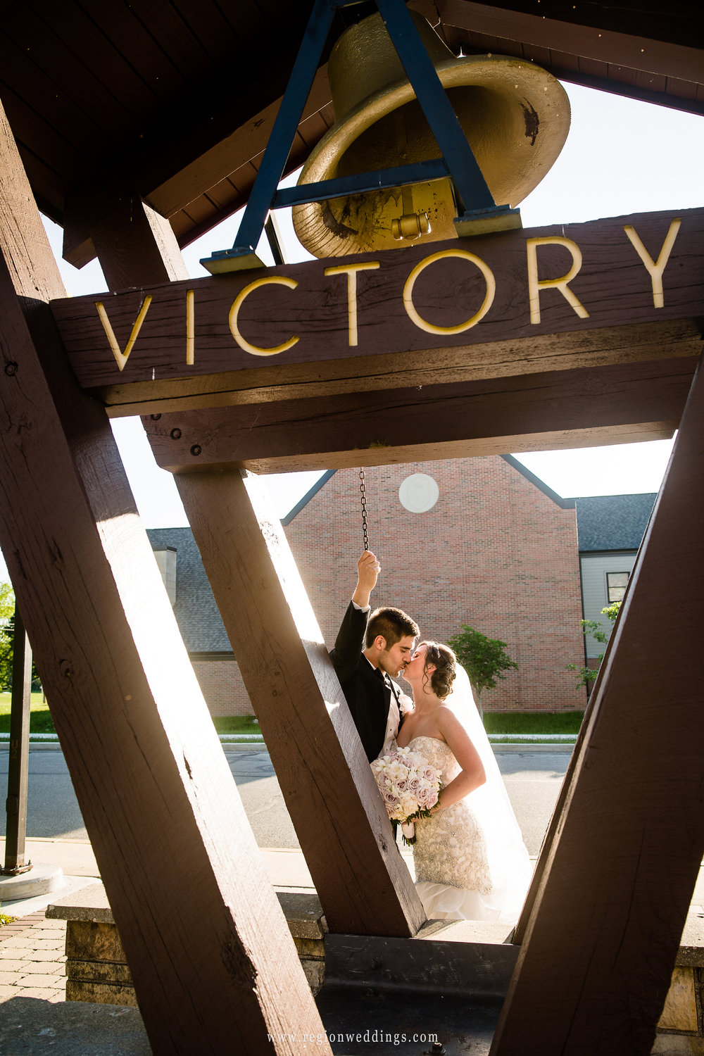 The Victory Bell outside the Valparaiso University football stadium.