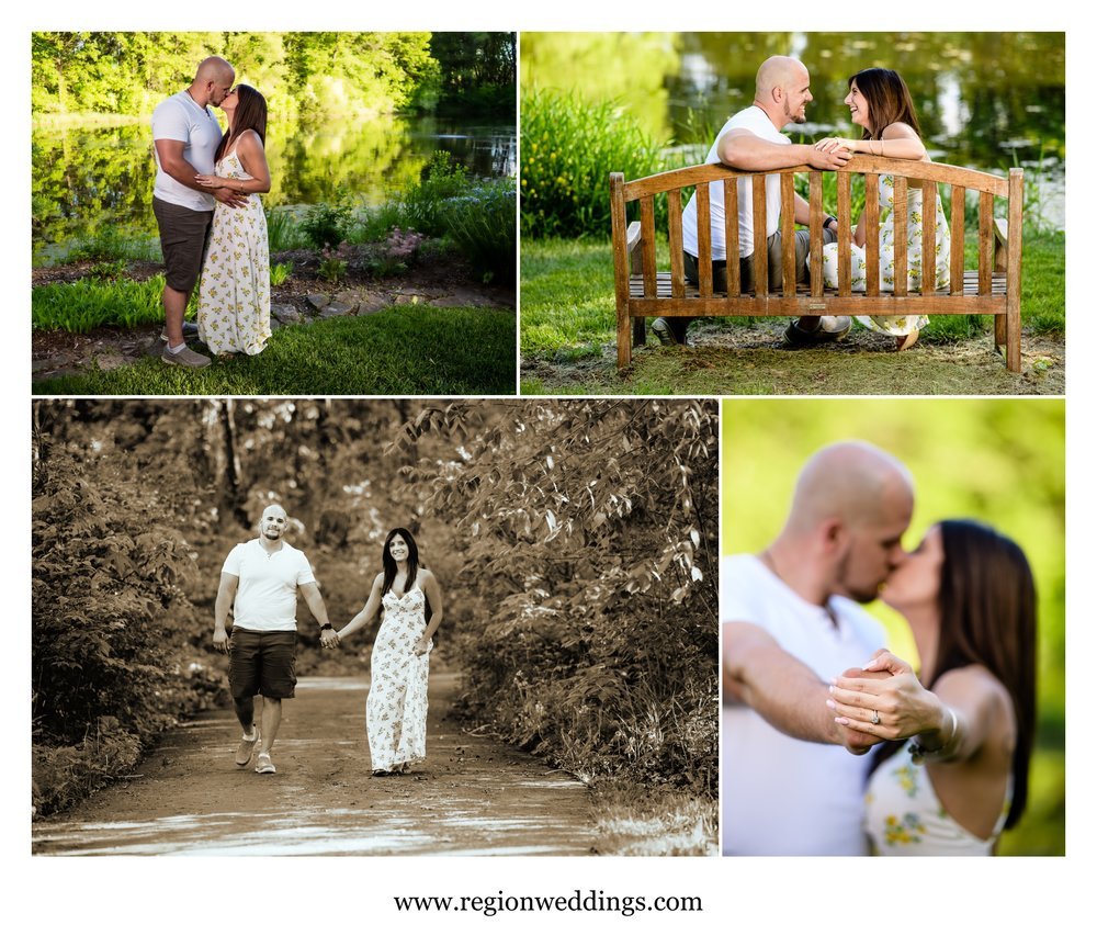 Engagement photos along the wooded paths of Gabis Arboretum.