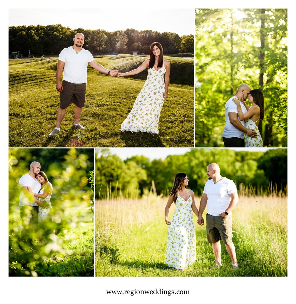 Romantic engagement photos at Gabis Arboretum.