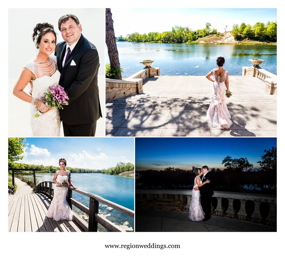 Bride and groom wedding photos at Marquette Park Pavilion.