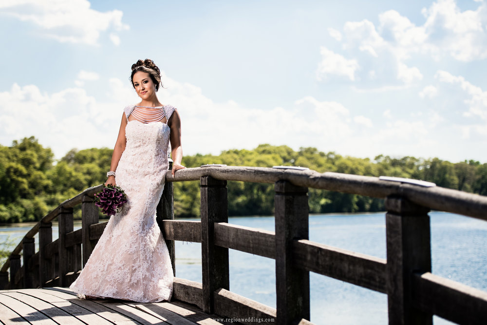The bride on the bridge overlooking the lagoon.