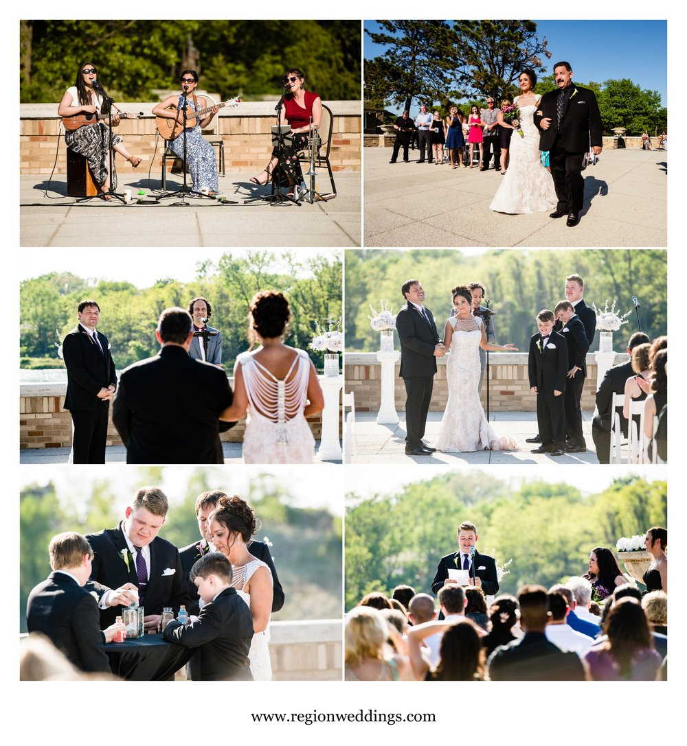 Outdoor wedding ceremony at Marquette Park Pavilion.