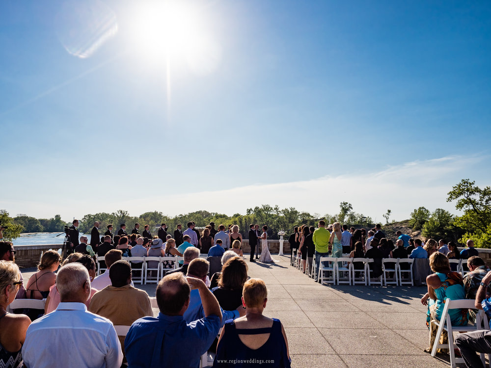 Summer wedding ceremony at Marquette Park Pavilion.