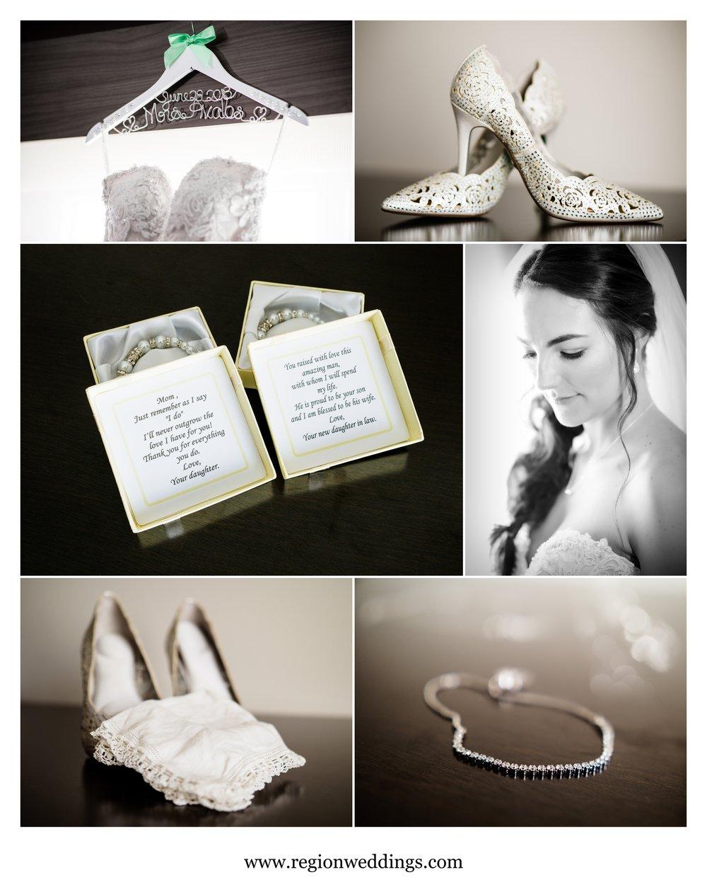 Bridal details for a Meyer's Castle wedding.