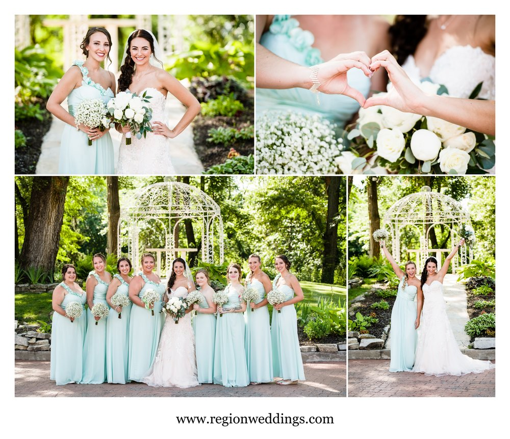 Bride and bridesmaid photos at Meyer's Castle.