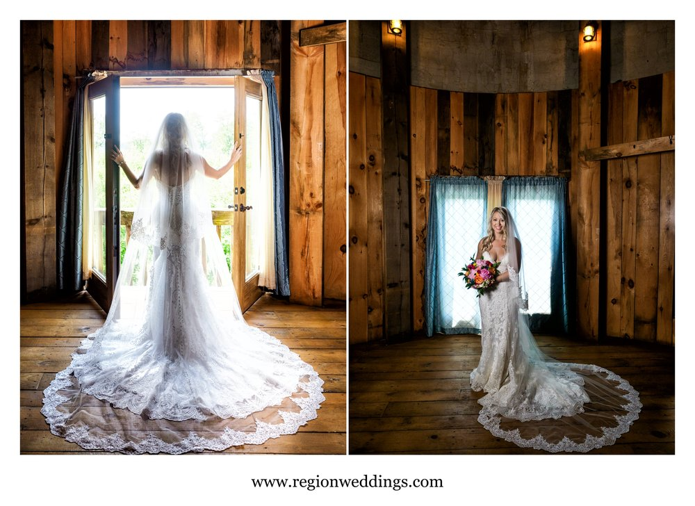 Bride portraits inside the County Line Orchard grain silo.