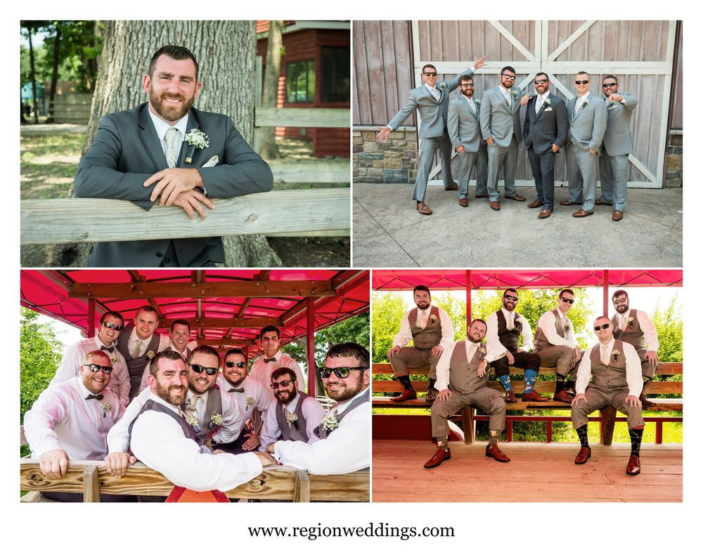 Groomsmen photo fun at County Line Orchard.