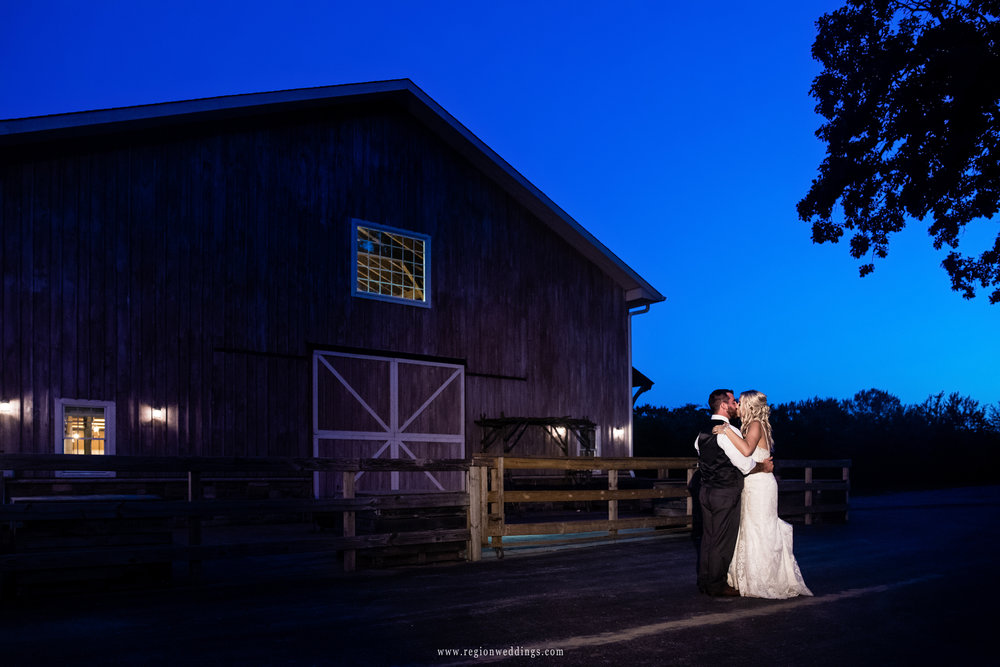 A blue hour wedding portrait at County Line Orchard.