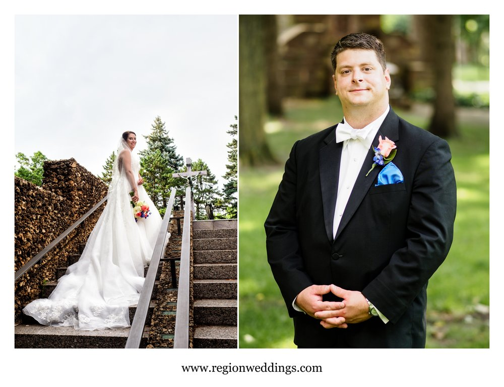Solo portraits of the bride and groom at Carmelite Shrine.