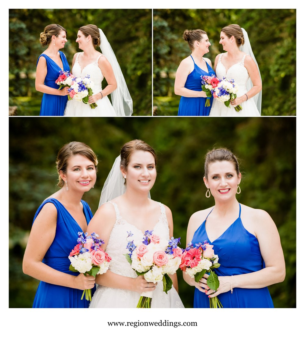 The bridesmaids get cute with the bride.