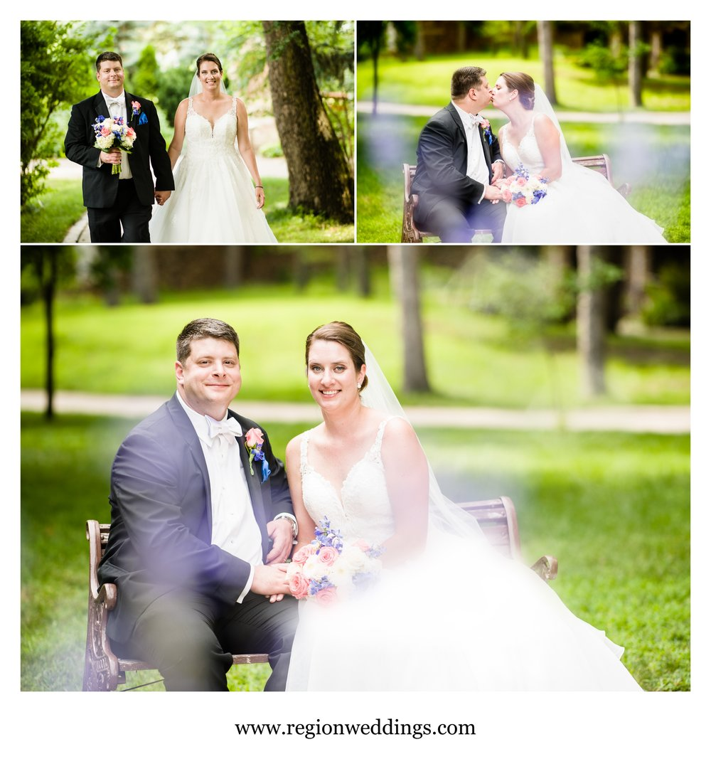 Cute bride and groom photos at Carmelite Shrine in Munster, Indiana.