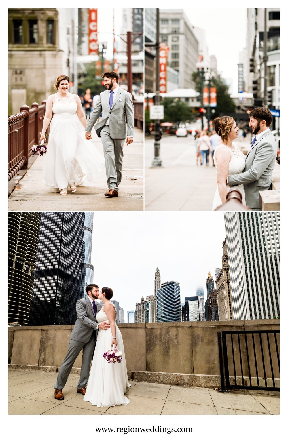 Wedding photos on the Dearborn and State Street bridges at the Chicago River.