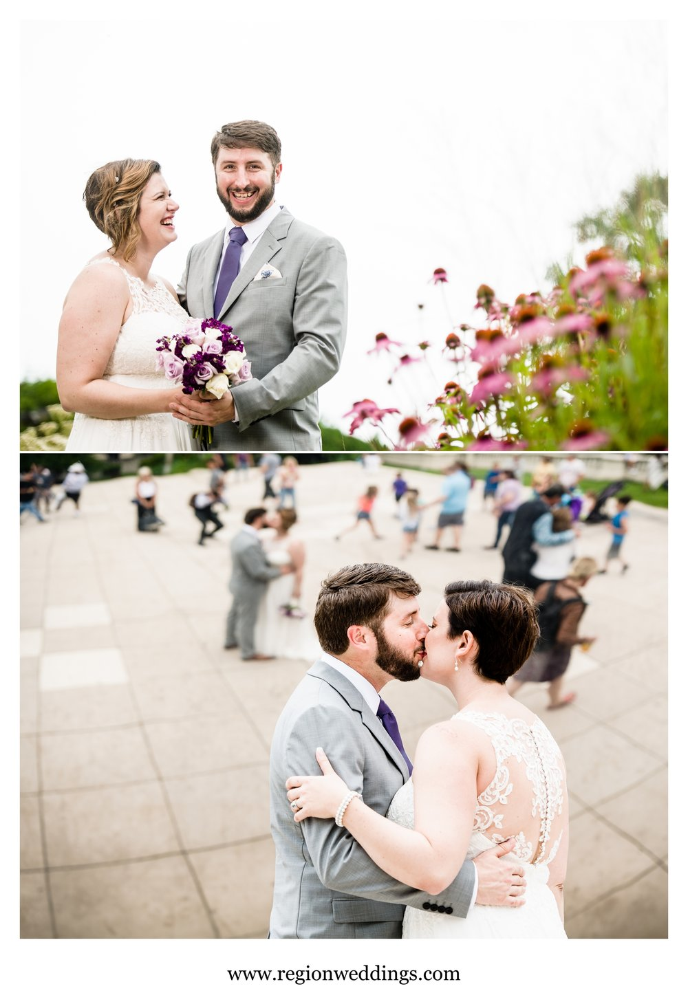 Wedding portraits at Lurie Garden and Cloud Gate in Chicago.