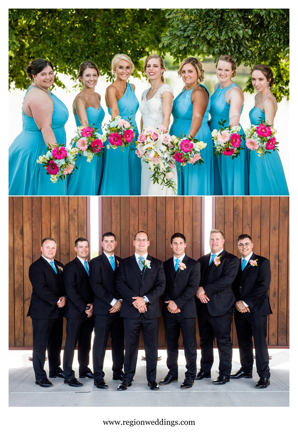 Bridesmaids and groomsmen photos at Centennial Park in Dyer, Indiana.