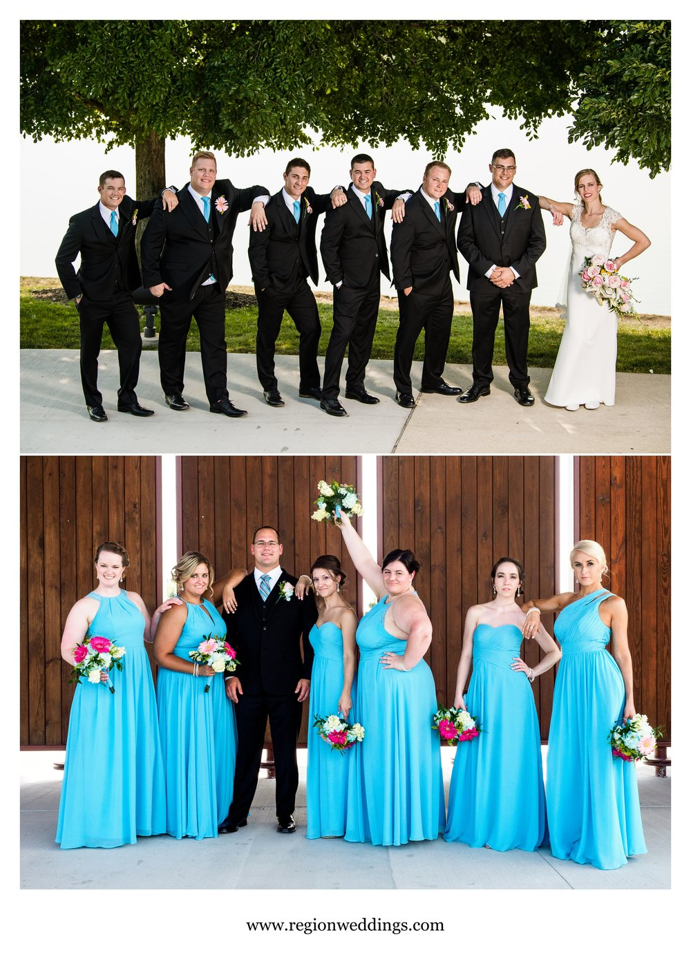 Bride with groomsmen and groom with bridesmaids.