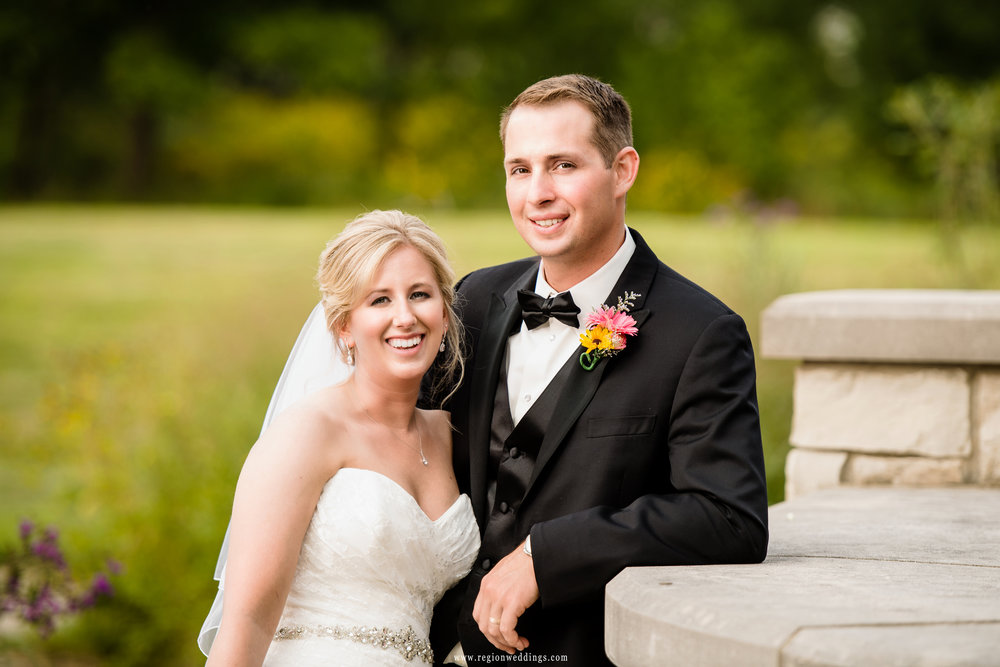 Bride and groom portrait At Coffee Creek Nature Preserve.