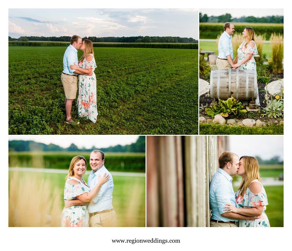 Engagement photos on Indiana farmland.