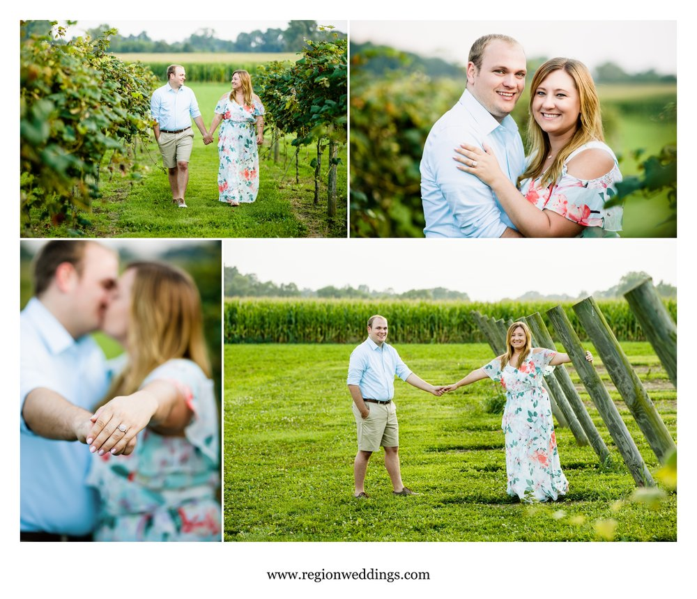 Fun engagement pictures at Four Corners Winery.